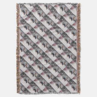 winter snow scene with cute black and tan dog throw