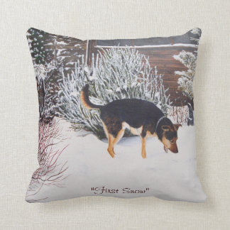 Winter snow scene with cute black and tan dog throw pillow