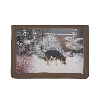 Winter snow scene with cute black and tan dog tri-fold wallet