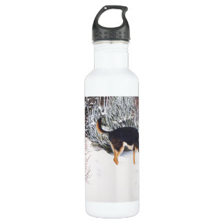 Winter snow scene with cute black and tan dog water bottle