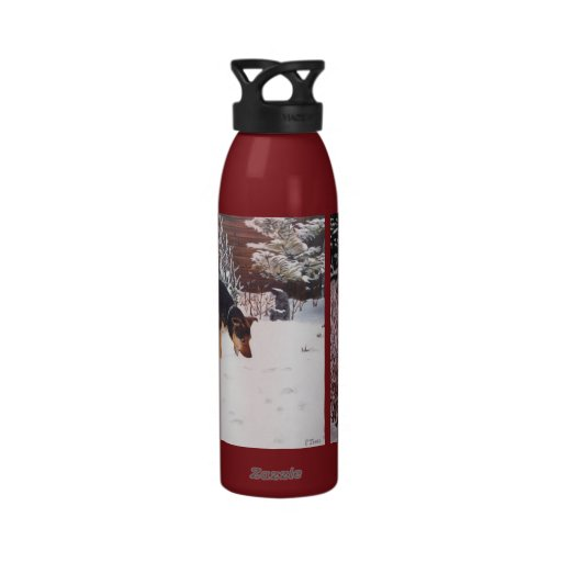 Winter snow scene with cute black and tan dog drinking bottles