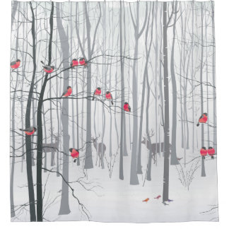 Winter Snow Scene with Deer and Birds Shower Curtain