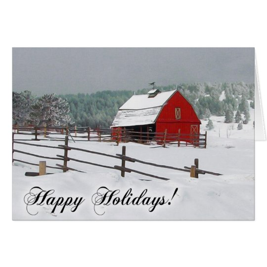 Winter Snow Scene with Red Barn, Happy Holidays Card