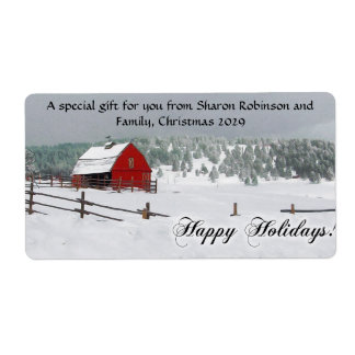 Winter Snow Scene with Red Barn, Happy Holidays Label