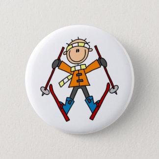 Winter Snow Ski Pinback Button