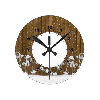 Winter Snow Snowman Peace Love Destiny Round Clocks
