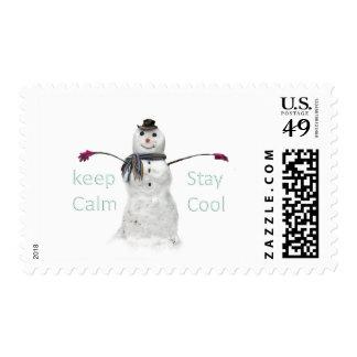 winter snow snowman postage