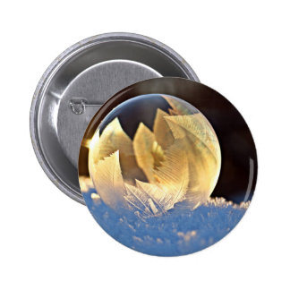 Winter Snow Soap Bubble with Leaves Button