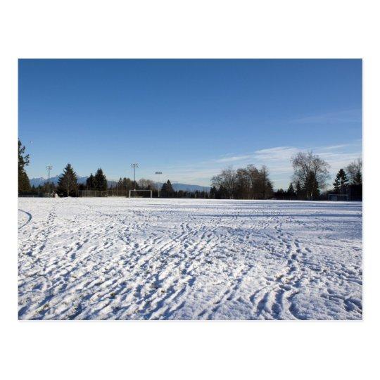 winter snow soccer field postcard