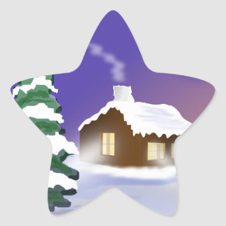 Winter snow star sticker