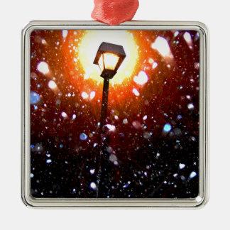 Winter Snow Storm At Night Metal Ornament