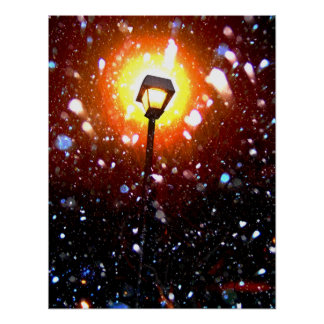 Winter Snow Storm At Night Poster