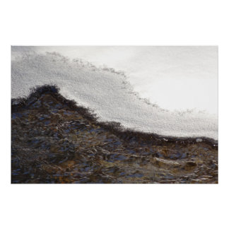 Winter Snow Stream Stripes Abstract Photography Poster