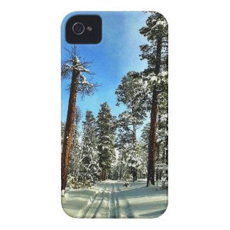 Winter Snow Trails in the Woods Trees Forest Gifts iPhone 4 Case-Mate Case