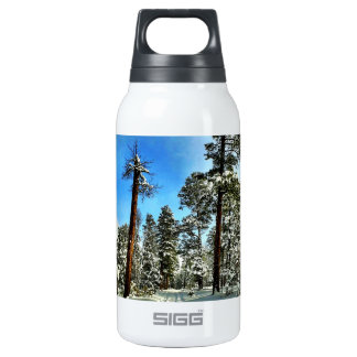 Winter Snow Trails in the Woods Trees Forest Insulated Water Bottle