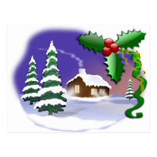 Winter Snow Trees Home Christmas Peace Destiny Postcard