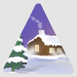 Winter snow triangle sticker