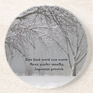 Winter Snow with Japanese Proverb Drink Coaster