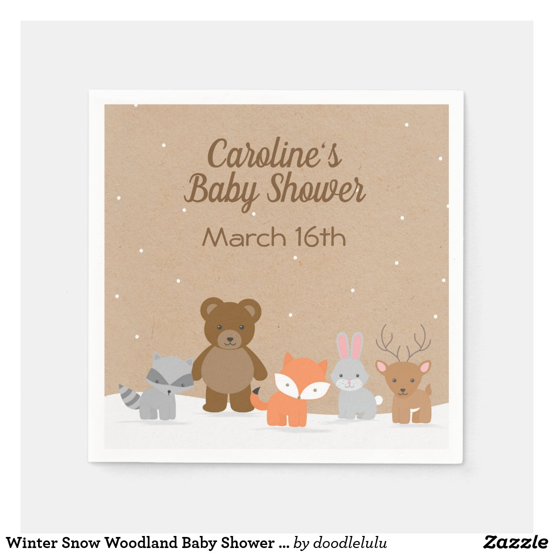Winter Snow Woodland Baby Shower Napkin brown