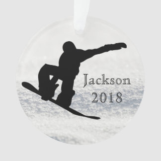 Winter Snowboarding Custom Name and Date Ornament