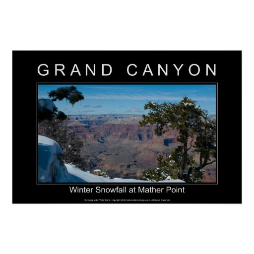Winter Snowfall at Mather Point 2872 Black Poster