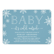 Winter Snowfall Baby Shower Invitation | Blue