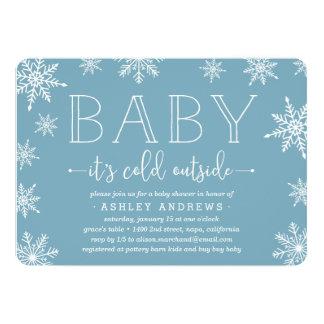Winter Snowfall Baby Shower Invitation   Blue