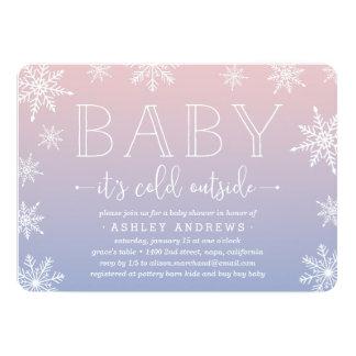Winter Snowfall Baby Shower Invitation | Blush
