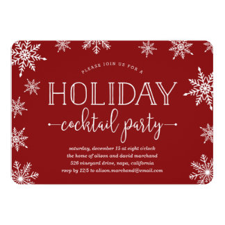 Winter Snowfall Holiday Cocktail Party Invitation