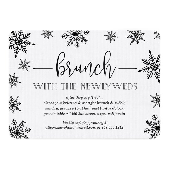 winter snowfall post wedding brunch invitation zazzle com