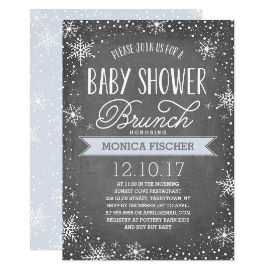 Winter Snowflake Baby Shower Brunch Chalkboard Invitation Zazzlecom