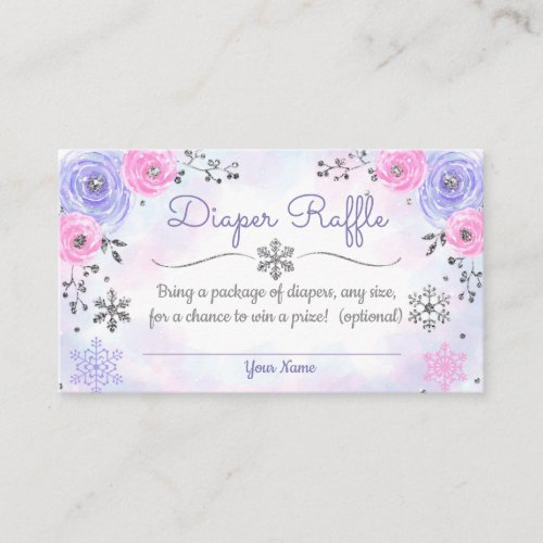 Winter Snowflake Baby Shower Diaper Raffle Card