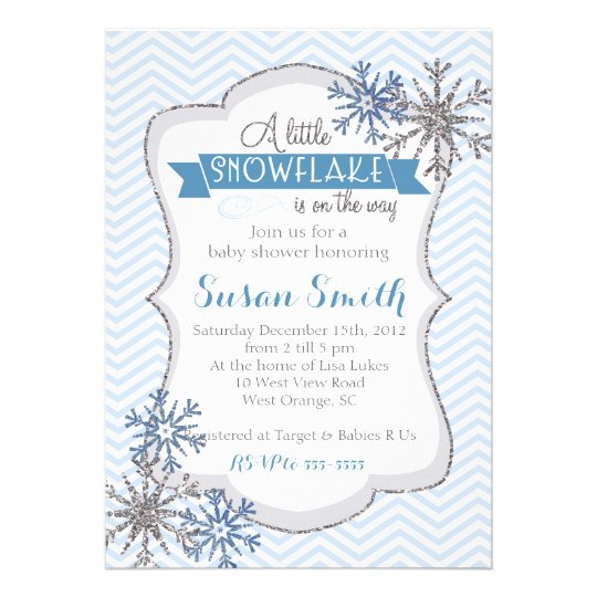winter snowflake baby shower invitation card zazzle