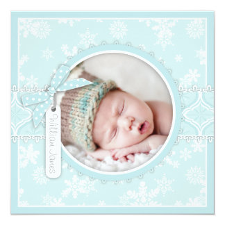 Winter Snowflake Birth Announcement Photo Card