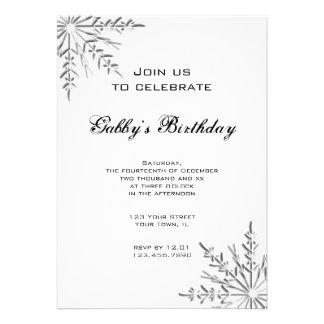 Winter Snowflake Birthday Party Custom Announcements