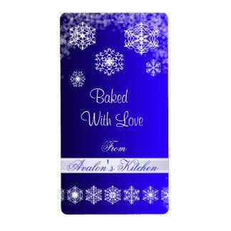 Winter Snowflake Blue Holiday Baking Label