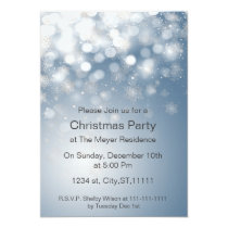winter snowflake blue Holiday party Invitation