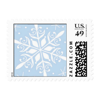 winter snowflake blue postage
