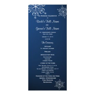 Winter Snowflake Blue Wedding Program Personalized Rack Card