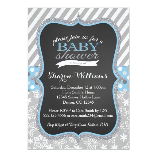 Winter Snowflake Boy Baby Shower invitation
