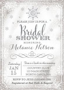 Winter bridal shower invitations announcements zazzle winter snowflake bridal shower invitation filmwisefo