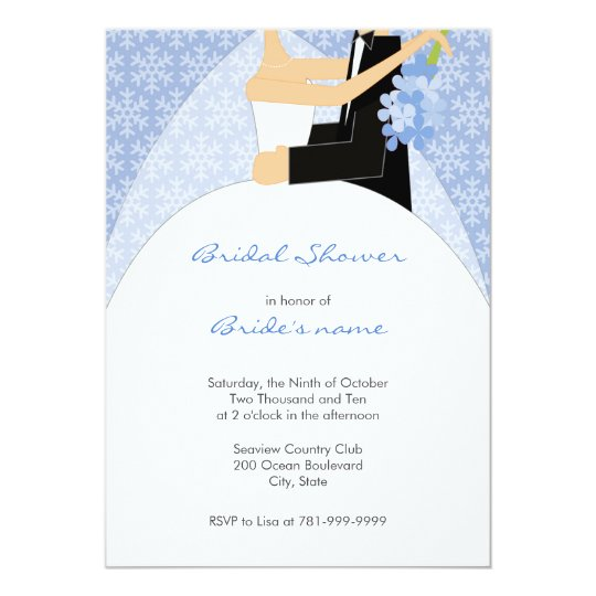 winter snowflake bridal shower invitations