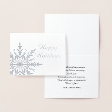 Professional Business Winter Snowflake Business Happy Holidays Foil Card