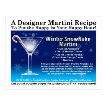 Winter Snowflake Christmas Martini Recipe Postcard