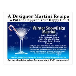 Winter Snowflake Christmas Martini Recipe Postcard
