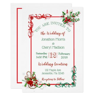 Winter Snowflake Christmas Wedding Invitations