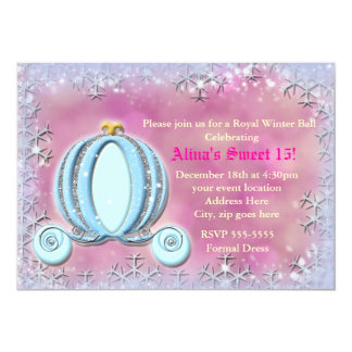 Winter Snowflake Cinderella Carriage Pink Invite