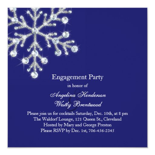 Winter Snowflake Engagement Party Invitation