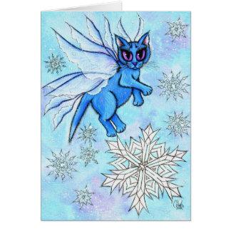 Winter Snowflake Fairy Cat Fantasy Art Card