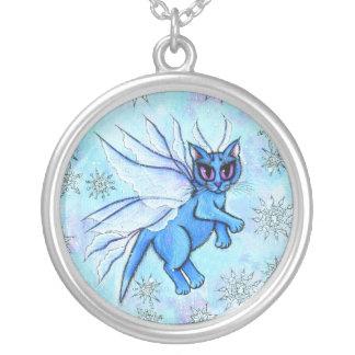 Winter Snowflake Fairy Cat Fantasy Art Necklace